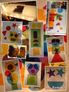 cut shapes out of tissue paper from a story, laminate for the light table. Reggio Emilia, Preschool Art, Preschool Activities, Diy Light Table, Art For Kids, Crafts For Kids, Robot Monster, Licht Box, Light Board