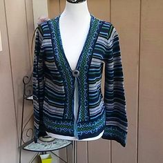 Cardigan Blue, black, and gray 1 button cardigan Evan Picone Sweaters Cardigans