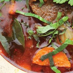 Curried Beef Stew  Ingredients  Servings: 4  Curry paste   6 dried puya or 3 dried guajillo chiles stemmed seeded    teaspoon kosher salt   1 lemongrass stalk bottom 4 only tough outer layer removed cut into 1 pieces   2 tablespoons sliced peeled fresh galangal   2 tablespoons sliced peeled fresh turmeric    cup chopped shallots    cup halved garlic cloves   1 tablespoon Thai shrimp paste  Stew   2 pounds trimmed beef chuck cut into 1 2 cubes   3 tablespoons soy sauce preferably Thai thin…
