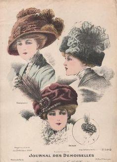 Fashionable Hats - Journal des Demoiselles - October 1909