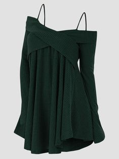 Plus Size Cold Shoulder Crisscross Tunic Sweater Casual Ladies Tops Women Sweaters Long Sleeve Pullover Jumpers Dark Forest Gree Plus Size Sweaters, Long Sweaters, Sweaters For Women, Cheap Sweaters, Tunic Sweater, Long Sleeve Sweater, Plus Size Womens Clothing, Clothes For Women, Cardigan Fashion