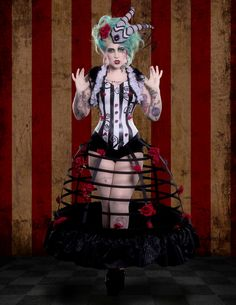 Miss Mischief rocking our cage skirt. Photography by Laura Dark   MUA Mascaraid
