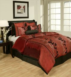 Red dark comforter bedroom set bed comforters sets ding bath and beyond twin leather . brown and red comforter sets queen bed Red Comforter Sets, Queen Comforter Sets, Floral Comforter, Duvet Sets, Style At Home, Maroon Bedroom, Bedroom Black, Gold Bedroom Decor, Bedroom Ideas