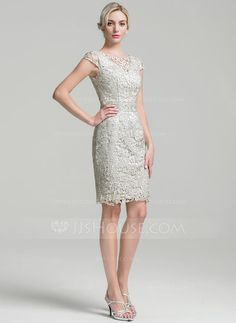 Sheath/Column Scoop Neck Knee-Length Zipper Up Cap Straps Sleeveless Yes Other Colors General Plus Lace Mother of the Bride Dress