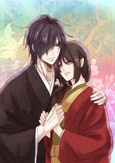 Hakuouki Shinsengumi Kitan, Saitou Hajime (Hakuouki), Yukimura Chizuru, Flower Background, Hand on Shoulder