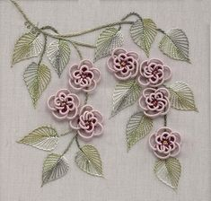 Complete List of Ribbon Winners Brazilian Embroidery Stitches, Hand Embroidery Videos, Embroidery Flowers Pattern, Hand Embroidery Dress, Simple Embroidery, Silk Ribbon Embroidery, Embroidery Patterns, Embroidery On Kurtis, Embroidery On Clothes