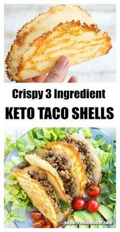 These are the crispiest Keto taco shells you'll ever taste! They're easy and quick to make and contain only net carbs per shell. Load in your favourite taco filling and enjoy on Taco Tuesday! Gluten free and low carb. via Keto Recipes: Keto Meal Plan, Diet Meal Plans, Ketogenic Recipes, Healthy Recipes, Delicious Recipes, Recipe Tasty, Keto Foods, Keto Snacks, Taco Recipe