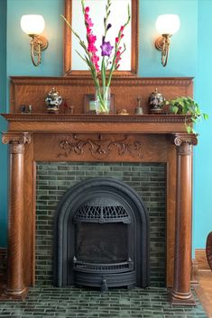 Victorian Fireplace Tiles, Antique Fireplace Mantels, Fireplace Remodel, Fireplace Mantle, Mantles, Vintage Mantle, Vintage Fireplace, Vintage Tile, Fireplace Tile Surround