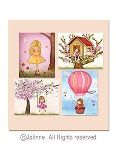 Decorations for Girls Room Playroom Decor Nursery Collection 8x10 / 11x14 inches Set of 4 Personalized Hair and Skin Color. Presenting the perfect decor addition to any little girl's room: a beautiful set of wall art prints that'll draw the eye of all who see and will be the highlight piece of any baby nursery or child's bedroom to showcase it in! •Art is printed on high grade photographic luster paper using only the best of pigment inks that are guaranteed to last forever and maintain…