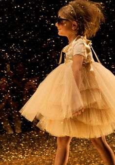 Twin-Set Girl  spring 2014 finale outfits as the gold flakes start to come down heavier incredible floating tutu dresses appeared in cream and black.