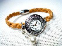 Damen Uhr geflochten Kork