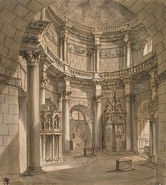 Interior of the Jupiter Temple in the Palace of Emperor Diocletian in Spalato…