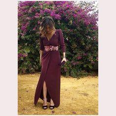 Invitadas 🙌 #coosy #madeinspain #invitadaperfecta vestido Stela berenjena + cinturón de flores ❤️❤️❤️ www.coosy.es
