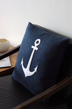 Navy with White Anchor - Large Eco Friendly Decorative Pillow Cover - regansbrain