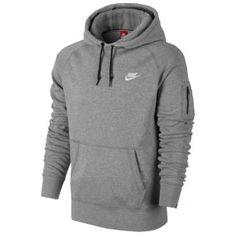 Nike AW77 Fleece Hoodie - Men's - Dark Grey Heather/White