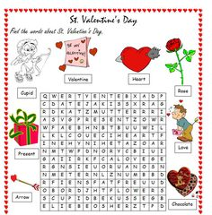 st valentine's day word list