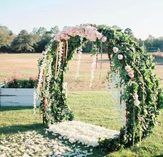 circular floral altar