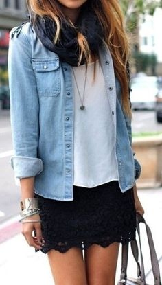 Chambray Blouse, Lace Skirt + Scarf <3 Love this Look!