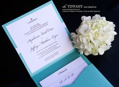 Tiffany Wedding Invitation, Tiffany Blue Invitation with Crystal - Brenna Catalano Design Studio