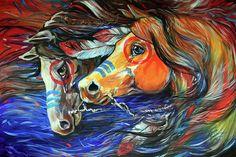 Three Feathers War Ponies by Marcia Baldwin