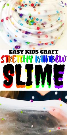 Stretchy Rainbow Slime Recipe Easy Slime Recipe For Kids Foolproof Slime With Glue Rainbow Slime Via: Rainbow Crafts How To Make Slime Stretchy Slime This Is The Best Slime Recipe For Slime With Contact Solution Easy Crafts For Kids, Projects For Kids, Art For Kids, School Projects, Diy Projects, Cool Slime Recipes, Easy Slime Recipe, Rainbow Slime, Rainbow Crafts