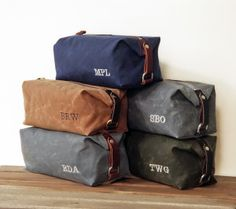 Groomsmen Gift, Personalized Men's Toiletry Bags – Embroidered Monogram Waxed Cotton Canvas and Leather Dopp Kit By:- SivaniDesigns
