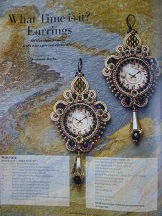 """Orecchini soutache """"What Time Is It?"""", ispirati agli orologi a pendolo, pubblicati sul num. 27 della rivista tedesca e in inglese Perlen Poesie..."""