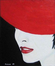 Dipinto della serie: Le dame bianche Titolo: Il cappello rosso Olio su tela - 70 x 50