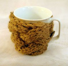 Hand knitted knit teacup cozy in light brown by ForestWool on Etsy, $9.99