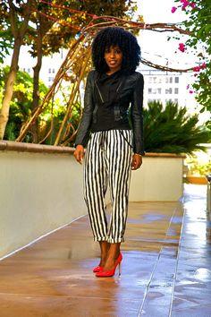 Style Pantry   Structured Moto Jacket + Stripe Peg Pants