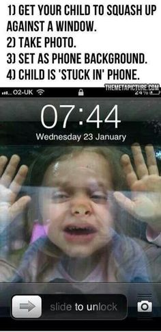 Kid stuck in phone... cute!