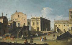 Bernardo Canal - Rome, a View of the Church of Santa Maria in Aracoeli and the Campidoglio | by irinaraquel