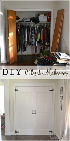 DIY Closet Door Ideas I had aCloset Door Makeover Reveal! {Dremel Weekends Not sold on the carriage door look, but bi-fold closet doors in the boys room is like asking for broken doors. Dremel, Home Renovation, Home Remodeling, Cheap Remodeling Ideas, Closet Door Makeover, Closet Makeovers, Pantry Makeover, Cheap Bedroom Makeover, Bathroom Makeovers