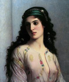 A Jewish Girl Of Tangier Painting by Charles Landell  (leding 19th century French Orientalist)
