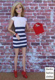 Irresistible Crochet a Doll Ideas. Radiant Crochet a Doll Ideas. Barbie Knitting Patterns, Knitting Dolls Clothes, Crochet Barbie Clothes, Barbie Patterns, Doll Clothes Patterns, Crochet Doll Pattern, Clothing Patterns, Dress Patterns, Crochet Dolls