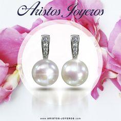 Estamos en el mes de la perla, imagina lucir estos bellos y elegantes aretes en plata platinada con una perla cultivada, y cubic circonias, Me gusta y a ti.....