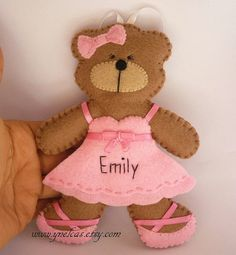 Personalized Felt Bear Ballerina Felt Bear Ornament by ynelcas