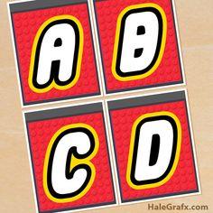 Plantillas gratis de Banner alfabético para fiesta temática de Lego. #FiestaLego