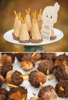 Rustic Backyard Kids' Thanksgiving - Sugar Cone Indian Teepee, some other cute ideas