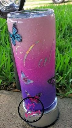 Purple Butterfly, Purple Ombre, Purple Glitter, Art Craft Store, Craft Stores, Yeti Cup, Tumbler Designs, Cup Design, Custom Tumblers