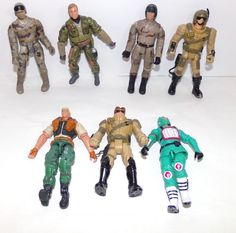 """Lot of Seven 4"""" Plastic Toy Soldiers Sailors Airmen and Marines 