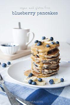 Vegan, Gluten-free Banana Blueberry Pancakes with Peanut Butter Sauce