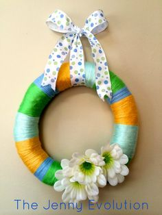 Easy Yarn Spring Wreath Tutorial Perfect for Easter, too! #diy  Easy for older kids!