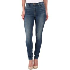 J Brand Maria High Rise Skinny in Ingenue Women's Jeans, Blue ($145) ❤ liked on Polyvore featuring jeans, blue, stretchy skinny jeans, super skinny jeans, skinny leg jeans, skinny jeans and stretch jeans