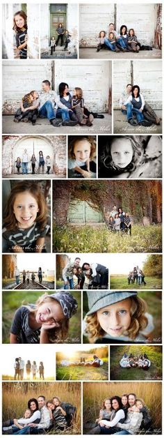 Family Session Posing:  Family poses- love the bottom ones; I love where they took these photos.