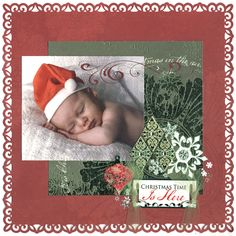 Santa Baby 2 Page...with lacy punched border...   I know just the little guy for this picture...