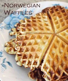 Recipe for heart-shaped Norwegian waffles (Norske Vafler), a great breakfast for Christmas, Valentines, or any day.
