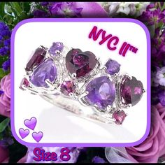 NYC II™ African Amethyst & Rhodolite Heart Band PRICE DROPNYC II™  SIZE 8.   RETAIL $210. Crafted from platinum over sterling silver  •ring boasts 2 rows of alternating heart shapes composed of 2 heart cut 6mm & 2 round cut 3mm purple African amethysts, along with 3 heart cut 6mm and 3 round cut 3mm reddish brown rhodolites, all in prong settings.  • Undergallery features whimsical heart cut-outs. GEMSTONES:  Total weight of African amethyst:  Approx 1.3ct  • Total weight of Rhodolite…