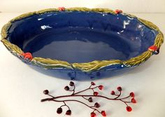 Large Handmade Ceramic Casserole Pan by WildCrowFarmPottery, Deep blue/purple glaze