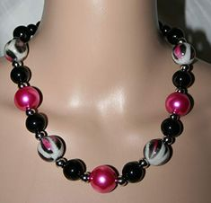 Beaded Necklace, Pink, Jewelry, Fashion, Grey, Black, String Of Pearls, Neck Chain, Gifts